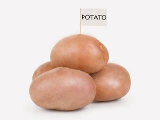 Potatoes on a white background