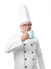 senior cool man with a tea cup