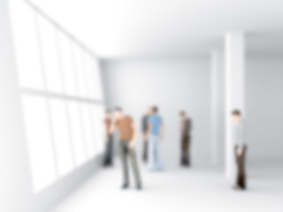 abstakt image of people in the office center with a blurred back