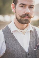 handsome big moustache hipster man