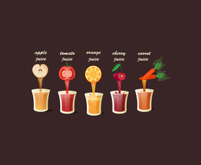 Set of delicious fresh juices