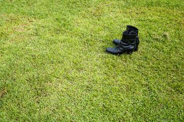 Black shoe on grass