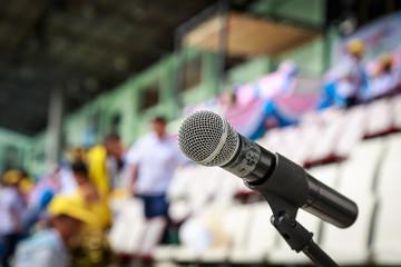Close up of microphone in stadium