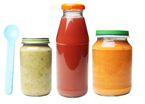 jars of food and bottle of juice for babies