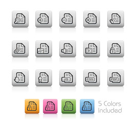 Documents Icons - 1 of 2 -- Outline Buttons