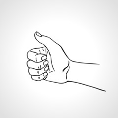 Vector illustration of a hand giving a thumbs up