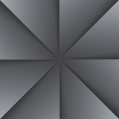 Gray and black folded paper triangles background