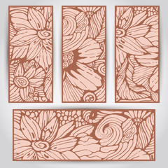 4 Vector Banners with Flowers