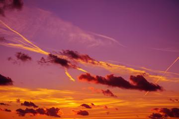 Fotobehang - pink, yellow and orange sunset