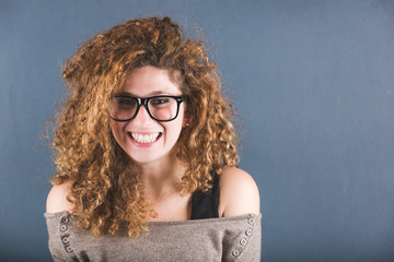 Smiling Curly Young Woman Portrait