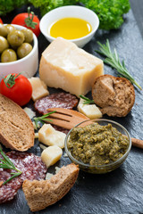 assortment of delicious antipasti, top view