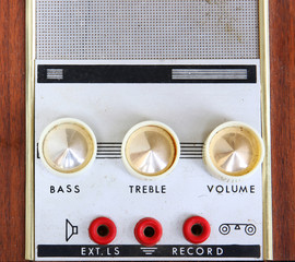 macro image of vintage Amplifier dials