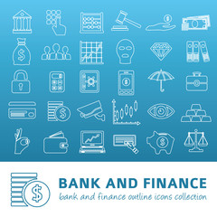 bank and finance outline icons