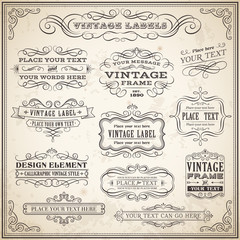 Vintage Calligraphic Labels Set