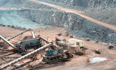 stone crusher in a surface mine