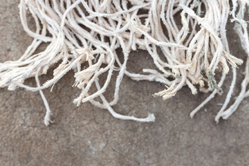 Close up old white rope texture and background