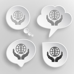 Protection world. White flat vector buttons on gray background.