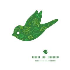 Vector ecology symbols bird silhouette pattern frame