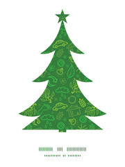 Vector ecology symbols Christmas tree silhouette pattern frame