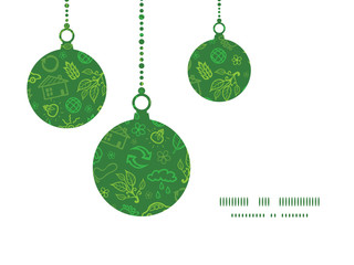 Vector ecology symbols Christmas ornaments silhouettes pattern