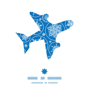 Vector falling snowflakes airplane silhouette pattern frame