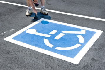 Painting Handicapped Parking Sign