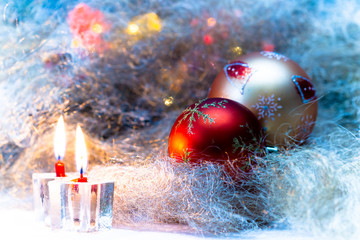 Christmas still life with candles and Christmas decorations