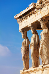 Spoed Fotobehang Athene Statues of Erechtheion in Athens, Greece