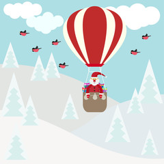 funny cartoon winter holidays card with Santa flying in hot air