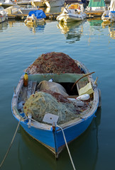 Fishing nets traditional italian fishing boat, Trani - Italy