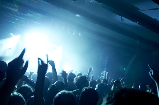 People having fun at rock concert in a music club