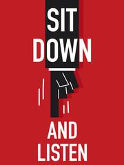 Word SIT DOWN