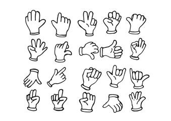 Cartoon hand gloved , illustration of various hands