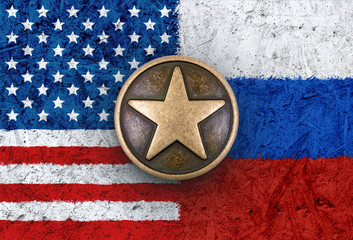Bronze star on USA and Russian flags in background
