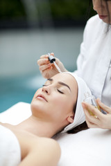pa, resort, beauty and health concept - beautiful woman in spa s