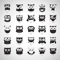 Owl Set - Isolated On Gray Background - Vector Illustration