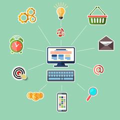 Concept for online marketing on blue background