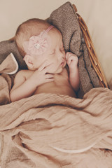 newborn girl is sleeping