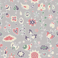 cute pattern of contour objects of birds, flowers