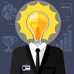Bulb headed man. Business man in suit