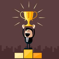Businessman stands on pedestal holds cup