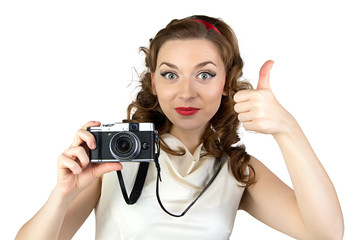 Image of the pinup woman with thumb up