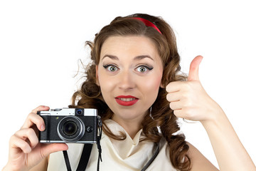 Photo of the pinup woman with thumb up