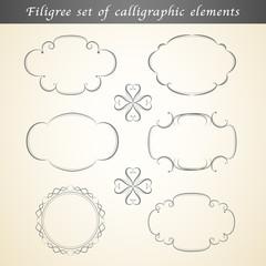 Filigree set of calligraphic elements embellish vintage design
