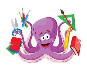 octopus with school supplies