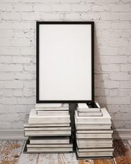 mock up poster frame on palle of books in loft interior