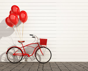 red hipster bicycle with balloons in front of wall