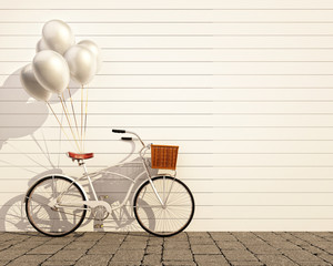 vintage hipster bicycle with balloon in front of  wall