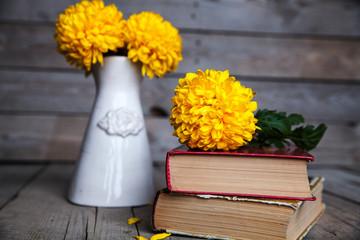 Flowers. Beautiful yellow chrysanthemum in a vintage vase.