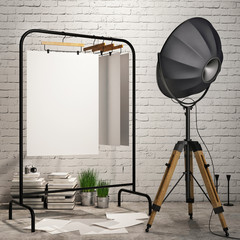 mock up posters  in loft interior background with industry lamp